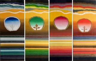 Miriam Besa; Four Seasons, 2019, Original Painting Oil, 12 x 30 inches. Artwork description: 241 This is a quadriptych  4 panels  representing the four seasons. These panels can be displayed four up or two down and two up depending on your wall space or personal preference. The images in the center of each panel is  You . The horizontal lines depict the ever ...