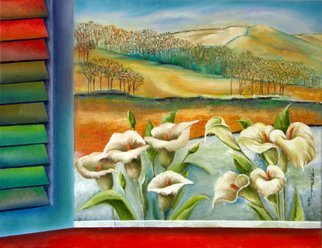 Miriam Besa; From My Window, 2013, Original Painting Oil, 34 x 24 inches. Artwork description: 241 A breathtaking view from my window - a beautiful landscape, and calla lilies. At a distance is a majestic scene of mountains, valleys and clusters of trees. This landscape evoke those quiet places where there are only natural sounds- the wind, bird song, little rustlings in the underbush. ...