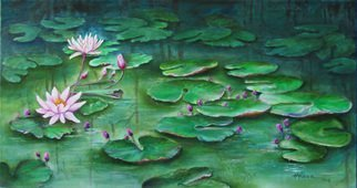 Miriam Besa; Lotus Pond, 2019, Original Painting Oil, 48 x 26 inches. Artwork description: 241 A pond with lotus lilies and sprouting lily buds - reflections of the forest behind it, endless leaves floating to almost infinity. . . . . . a soothing, peaceful and a mystic effect. ...
