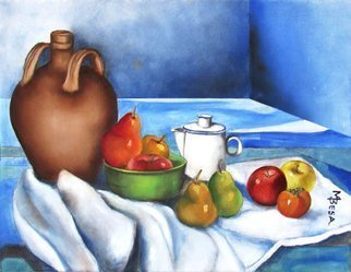 Miriam Besa; Still Life Jug With Fruits, 2018, Original Painting Oil, 22 x 17 inches. Artwork description: 241 A composition consisting of a jug, coffee pot with a bowl of fruits and other  inviting  fruits - pears, apples and persimmon laid on a drapery.  Its background - a room in perspective with an interesting play of shadow patterns on the floor adds to this interesting and appealing ...
