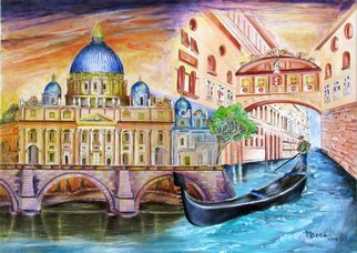 Miriam Besa; Vatican And Grand Canal, 2019, Original Painting Oil, 36 x 26 inches. Artwork description: 241 St. Peter s Basilica is an Italian Renaissance church in Vatican City, the papal enclave within the city of Rome. St. Peter s is the most renowned work of Renaissance architecture and the largest church in the world. I chose to depict its splendor and majesty at ...