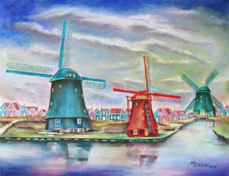 Miriam Besa; Windnill Village Amsterdam, 2018, Original Painting Oil, 36 x 28 inches. Artwork description: 241 A village in Amsterdam with 3 giant windmills.  On a sunny day, the reflections of the windmills are pronounced on the water, giving the scene a more interesting and calming effect.  On the background are the traditional looking houses against the beautiful and expressive treatment of the ...