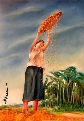 Miriam Besa; Woman Shifting Rice, 2019, Original Mixed Media, 20 x 28 inches. Artwork description: 241 sifting, rice, grains, husk, basket, winnower, stylistic, fanning, native, food, presentation, texture, depth, motion, woven, bamboo, contrast, clouds, movement, power, dominance, plantation, banana, space...