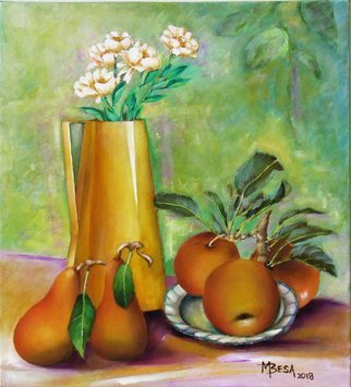 Miriam Besa; Yellow Pitcher With Pears, 2018, Original Painting Oil, 18 x 20 inches. Artwork description: 241 A still life created in oil on canvas. The tall yellow pitcher with white blooming flowers compliments the delicious pears and apples on a plate. The pears and apples have just been picked as they have the stems and leaves, so inviting in their freshness. ...