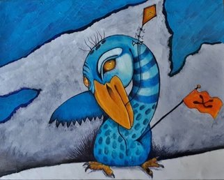 Vicki Myers; Go Fly A Kite, 2019, Original Painting Other, 8 x 11 inches. Artwork description: 241 whimsical bird series, acrylic painting and drawing on wood...