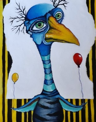 Vicki Myers; Party Tme, 2019, Original Painting Other, 8 x 11 inches. Artwork description: 241 whimsical bird series...
