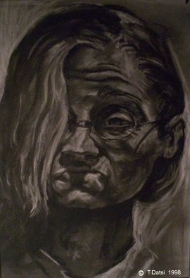 Tracey Datsi Pennell; Grotesque Self Portrait, 1998, Original Drawing Charcoal, 11 x 16 inches.