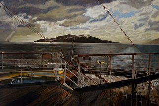 Thu Nguyen; Leaving Queen Charlotte Sound, 2015, Original Painting Oil, 32 x 24 inches. Artwork description: 241  travel, cruise ship, Statendam, Alaskan Cruise, Queen Charlotte Sound B. C. , island, storm cloud ...