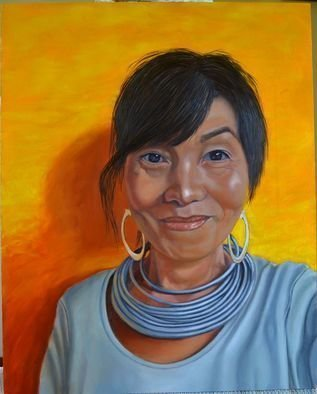 Thu Nguyen; Happiness Comes From Within, 2018, Original Painting Oil, 16 x 20 inches. Artwork description: 241   Madonna  , oil on cradled panel, wired on back ready to hang without frame, 16 x 20 inches, for this painting I m trying for the look of religious icon with stiff posed and bright yellow back ground like a golden halo of the Virgin Mary.  This painting ...