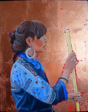 Thu Nguyen; The Black Hmong Princess, 2018, Original Painting Oil, 16 x 20 inches. Artwork description: 241 oil and copper leaf on panel , 16 x 20 inches, framed ready to hang...