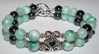 Ana Verde; Amazonite Bracelet, 2007, Original Jewelry, 8 x  inches. Artwork description: 241  Made with Fashion Emerald slider, 8mm China Jade, 8mm high power magnetic pearls, 8mm amazonite gemstones, sterling silver rope beads and an anitque silver toggle clasp.  Bracelet measures 8 long ...