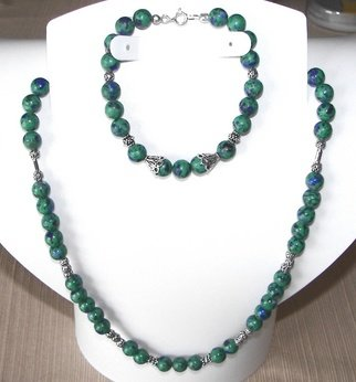 Ana Verde; Azurite Malachite Gemston..., 2008, Original Jewelry, 19 x  inches. Artwork description: 241  Azurite/ Malachite Necklace made with 8mm round gemstones, sterling silver beads, bead spacers,  bead cones, bead caps and spring ring clasps.  Necklace measures 19