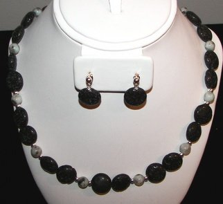 Ana Verde; Lava Rock Gemstone Neckla..., 2007, Original Jewelry,  18 inches. Artwork description: 241  Lava Rock Gemstone Necklace, Earrings made with round coin lava rock gemstones and round gray agate gemstones, sterling silver bead spacers, sterling silver stud ear wires, sterling silver clasp.  Necklace measures 18 long.  Earrings measure 1 long ...