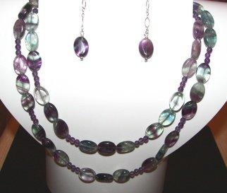Ana Verde; Purple Fluorite And Ameth..., 2008, Original Jewelry, 34 x  inches. Artwork description: 241  Necklace and Earrings made with 8x12mm Fluorite Gemstones, 4mm Amethyst Gemstones, Sterling Silver Chain and Sterling Silver Clasp. This necklace can be doubled or it can be worn as a long necklace ...