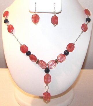 Ana Verde; Sherry Quartz, 2007, Original Jewelry,  18 inches. Artwork description: 241  Made with Sherry Quartz Nuggets, Lapis Howlite gemstones, sterling silver chain, sterling silver spacers and sterling silver earrings. Necklace measures 18 long.  Earrings measure 1. 3 long ...
