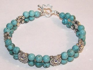 Ana Verde; Turquoise Bracelet, 2007, Original Jewelry,  8 inches. Artwork description: 241  Made with 6mm Blue Turquoise Gemstones, Swarovski Sliders Sterling Silver Clasp.  Measures 7 3/ 4 long ...