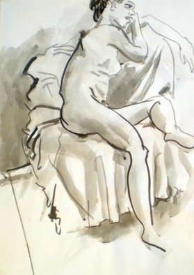 Antonio Trigo; Nude On The Sofa, 2011, Original Drawing Other, 50 x 70 cm. Artwork description: 241  Mixing of charcool with indian ink ...