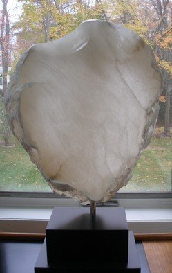 Terry Mollo; Guarded Heart, 2011, Original Sculpture Stone, 14 x 22 inches. Artwork description: 241  Italian white translucent alabaster. Light passes through revealing veins and faults. A human shield- like form creates a white translucent armour. ...