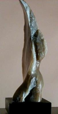 Terry Mollo, 'Heavens Gate', 2004, original Sculpture Stone, 8 x 15  x 5 inches. Artwork description: 1911 On one side the form is figurative, realistic and clear; on the other side it is abstract, translucent and vague. Carved from Italian brown agate and mounted on a stone base. This is a partial side view....