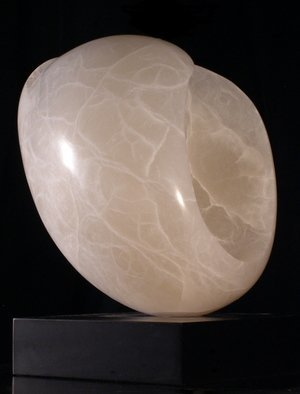 Terry Mollo; Moonglow, 2010, Original Sculpture Stone, 8 x 11 inches. Artwork description: 241  Front view. Abstract almost- oval form inspired by a variety of  small,  delicate bubble shells, Moonglow is carved and hollowed white translucent Italian alabaster. Light passes through to reveal the inner workings, veins and secrets of this beautiful stone.   ...