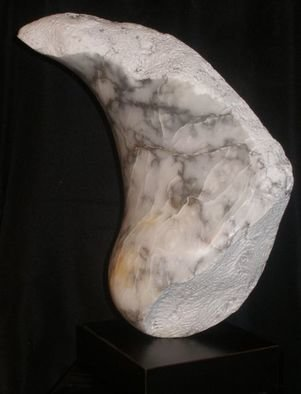 Terry Mollo; Moonstruck, 2012, Original Sculpture Stone, 6 x 17 inches. Artwork description: 241   A broken fragment of the moon; Black & white alabaster; Front View  ...