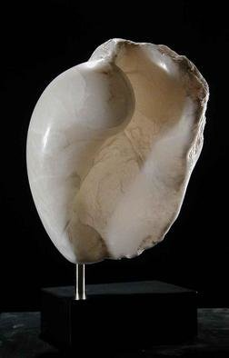 Terry Mollo, 'Mystic', 2006, original Sculpture Stone, 10 x 15  x 7 inches. Artwork description: 1911 Inspired by the organic vs. inorganic nature of sea life, shells and sea conches, this piece is carved from a very translucent white alabaster. Light flows through to show a mystical floating embryonic interior. It is mounted on a plain black matte lucite base. ...