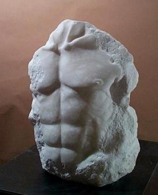 Terry Mollo, 'Noah', 1998, original Sculpture Stone, 17 x 25  x 10 inches. Artwork description: 1911 Front of male chest/ torso, carved from white translucent alabaster. This is a one- of- a- kind piece....
