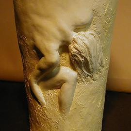 Terry Mollo, , , Original Sculpture Ceramic, size_width{Vase_With_Female_Figure-1112473171.jpg} X 11 inches