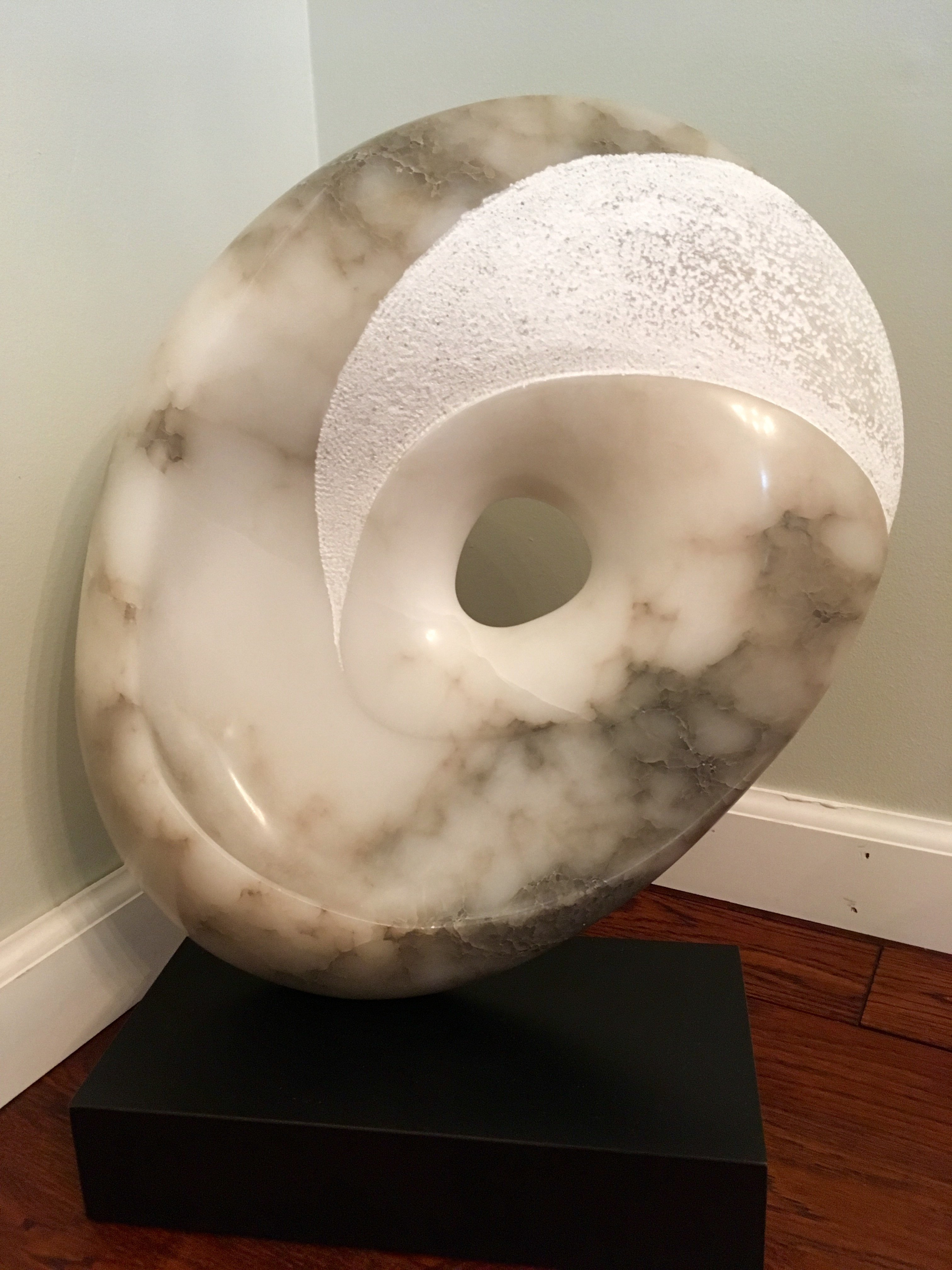 Terry Mollo; Eye Of The Storm, 2018, Original Sculpture Stone, 18 x 21 inches. Artwork description: 241 Clouds heavy and white with dark ominous threats ahead. Alabaster. ...
