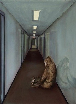 T. Smith; Gorilla Depression, 2004, Original Painting Oil, 36 x 48 inches. Artwork description: 241 This painting is related in color tone and compositional simplicity to 'Soul Mates'. The colors are muted and dull and there are only two major elementsthe gorilla and the interior hallway.  I did a complete acrylic under painting and then painted in thin oil glazes over ...
