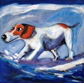 Jo Tuck; Surfing Dog, 2009, Original Printmaking Giclee - Open Edition, 20 x 20 inches. Artwork description: 241   Giclee print of oil painting    ...