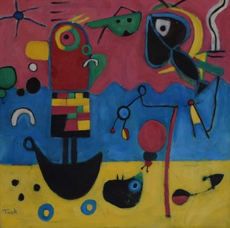 Jo Tuck; Looking For Big Sky Happiness, 2020, Original Painting Oil, 20 x 20 inches. Artwork description: 241 This painting is inspired by modernism, folk art and mural art. The colors are applied like words in a poem, the image arises from the subconcious...