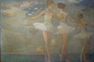 Malcolm Tuffnell; Dancing With The Clouds, 2014, Original Painting Other, 30 x 20 inches. Artwork description: 241 a fantasy of joyful ballerinas against a backdrop of clouds...