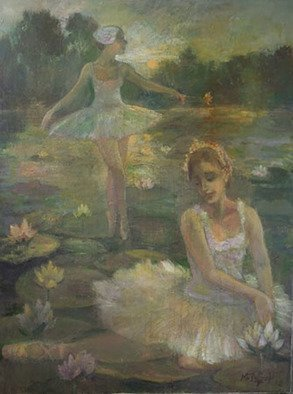 Malcolm Tuffnell; Moonlight Swans And Lilies, 2012, Original Painting Oil, 36 x 48 inches. Artwork description: 241 this major work was inspired by Swan Lake ballet , danced by the Marinsky Theater Ballet in 2012...