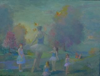 Malcolm Tuffnell; The Ballet Lesson, 2020, Original Painting Oil, 48 x 36 inches. Artwork description: 241 a lovely group of girls surround a prima ballerina in a park in a major city, perhaps Chicago. .  Oil on canvas 36 x 48  2020. My major work from the horrific, yet productive, year. ...