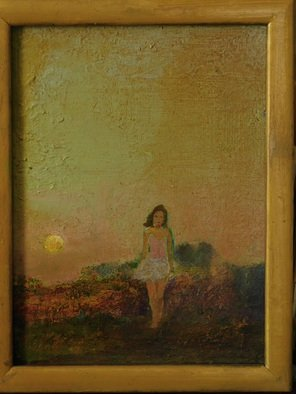 Malcolm Tuffnell; Twilight Walk, 2019, Original Painting Oil, 8.1 x 10 inches. Artwork description: 241 a rising moon, a girl walking- - twilight on the bluffs...