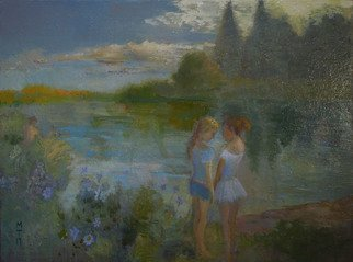 Malcolm Tuffnell; Whispers By A River, 2017, Original Painting Oil, 40 x 30 inches. Artwork description: 241 oil 30x40  2017. little girls whispering,  who is he   i don t know . . . a little boy in the distance. . . ...