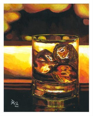 Tylor Adair; On The Rocks, 2016, Original Painting Acrylic, 11 x 14 inches. Artwork description: 241  Nothing like a night cap to top off a long day ...