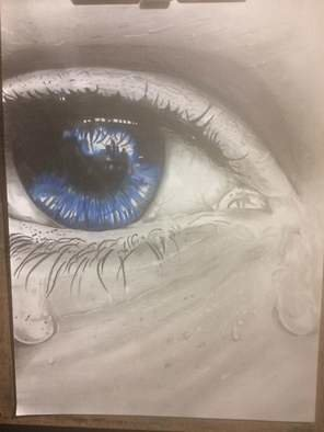 Tyrone Webber; Blue Eyes Crying, 2018, Original Drawing Other, 11.7 x 16.5 inches. Artwork description: 241 a3 drawing using graphite and colour pencils...