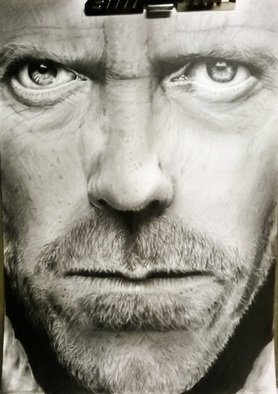 Tyrone Webber; House Doctor, 2018, Original Digital Print, 11.7 x 16.5 inches. Artwork description: 241 PRINT OF ORIGINAL a3 DRAWING IN GRAPHITE OF HUGH LAURIE FROM HOUSE...