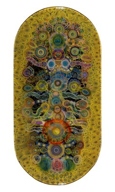 Bruce Riley; Chakra Shield, 2013, Original Mixed Media, 48 x 24 inches. Artwork description: 241    Contemporary art, painting, mixed media, psychedelic         Organic. abstract, psychedelic, colorful,  ...