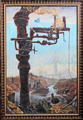 Leo Karnaukhov; Postindustry, 1983, Original Painting Oil, 83 x 120 cm. Artwork description: 241 The consequences of progress...