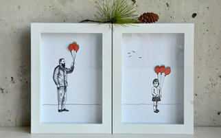 Aleksandar Janicijevic, Girl and grandfather with b..., 2014, Original Drawing Pen, size_width{girl_and_grandfather_with_balloons-1414506883.jpg} X 8 x  inches