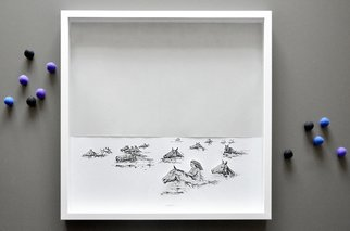 Aleksandar Janicijevic, Girl swimming with horses, 2014, Original Drawing Pen, size_width{girl_swimming_with_horses-1414507233.jpg} X 20 x  inches