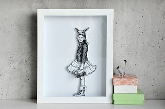 Aleksandar Janicijevic, Girl with bunny ears, 2014, Original Drawing Pen, size_width{girl_with_bunny_ears-1414506295.jpg} X 10 x  inches