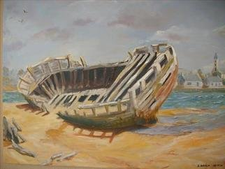 Gerard Bahon; After Life, 2010, Original Painting Oil, 30 x 24 inches. Artwork description: 241  Original oil painting . Old Tuna Boat finish its life on a beach in Brittany  ...