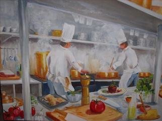 Gerard Bahon; Cooking Time, 2010, Original Painting Oil, 28 x 22 inches. Artwork description: 241      Original oil painting . Cooks preparing food for customers during rush .      ...