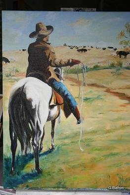 Gerard Bahon; The White Horse, 2011, Original Painting Oil, 24 x 36 inches. Artwork description: 241         Original oil painting . Cowboy on horseback surveying his herd of cows ...