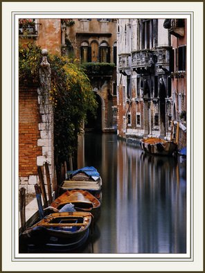 Michael Seewald; Canal Reflections, Venice..., 1994, Original Photography Color, 21 x 26 inches. Artwork description: 241 Winner,' Best of Show' , San Diego International Photographic Competition, 1996, besting over 3,300 world- wide entries. While working the rainiest day, making for great light, the rain stopped for a few seconds and the light became perfect.   Originals and Reproductions avial. .  Original photograph, signed ...