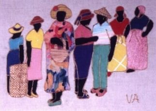 Valerie X Armstrong; Bus Stop, 2000, Original Reproduction, 20 x 16 inches. Artwork description: 241  A colorful depiction of daily life in the Bahamas ...